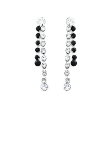Glamorousky black Refined Tassel Earrings with Silver and Black Austrian Element Crystals 9B3C2AC284FEE7GS_1