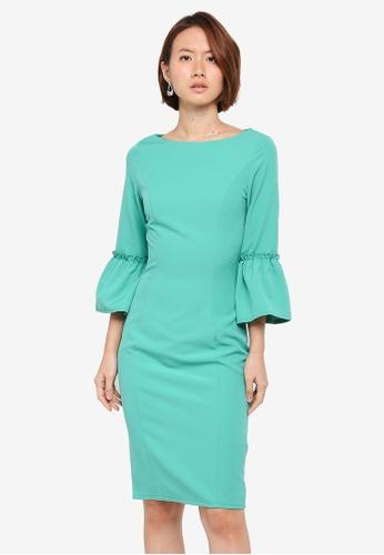 Paper Dolls green Flutted Bell Sleeve Dress 47C5EAAA0899DDGS_1