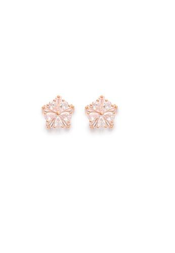Crystal Korea Fashion gold Korea-made anti-sensitive silver needle bright diamond rose gold earrings 44911ACF29E460GS_1
