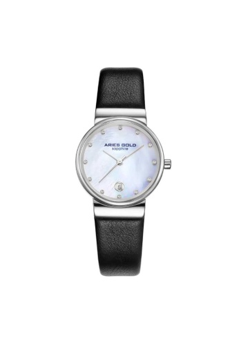Aries Gold black Aries Gold Enchant Camille Silver and Black Leather Watch 2CBBDACF0791E3GS_1