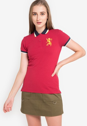 Giordano red and multi Polo Womens 3D Lion E4970AA7171935GS_1