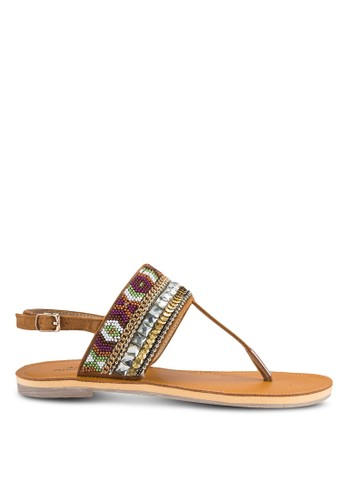 Szalora taiwan 時尚購物網kyler 民族風串珠T 字帶平底涼鞋, 女鞋, 涼鞋