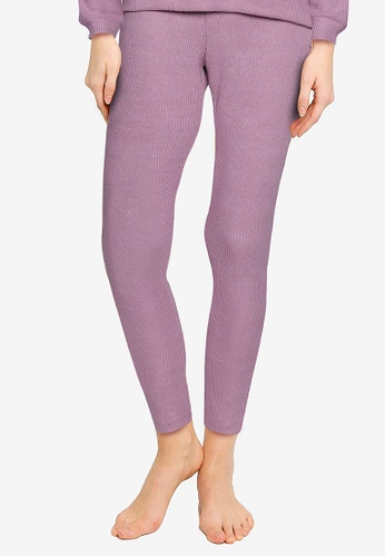 GAP purple Snit Rib Foldover Leggings 6AFA2AAB5067BEGS_1