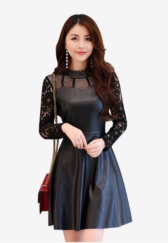 Lara black A/W Flare Net yarn  imitation Leather Hollow Dress LA355AA0GHZBSG_1