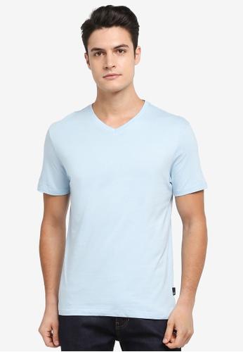 Burton Menswear London blue Sea Spray Blue V-Neck T-Shirt 8DE00AA6FBE052GS_1