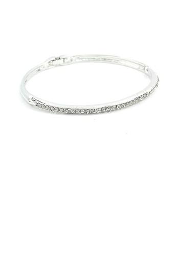 Glamorousky silver Elegant Bangle with Dark Grey Austrian Element Crystals 31610AC5AB1341GS_1