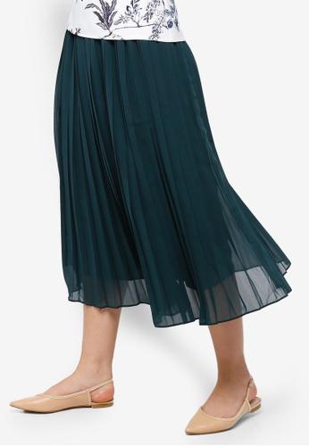 ZALORA green Pleated Midi Skirt 8CD63AA59FB85FGS_1