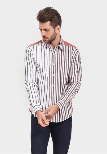 YEGE white YEGE Long Sleeve Stripe Shirt 6084 650F0AA001E96EGS_1