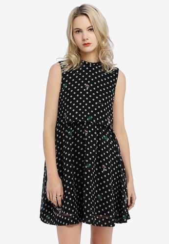 Hopeshow black Spotted Sleeveless Dress 2D9D7AA2F0C154GS_1
