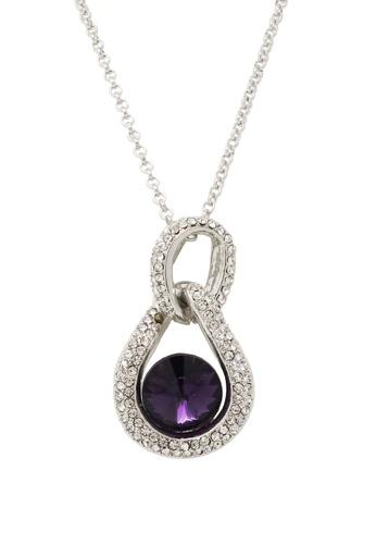Jaysa Collection silver Violet Crystal Palladium Necklace JA875AC0FXPPSG_1