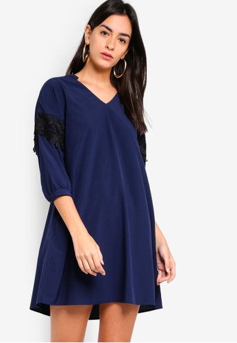 ZALORA navy Lace Trim Dress BE1E4AA9E660E9GS_1