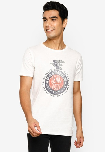 Jack & Jones white Blu Harold Short Sleeve T-Shirt FE83FAA1DA4C3FGS_1
