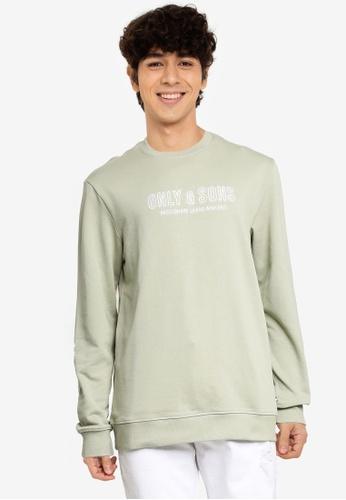 Only & Sons green Logo Crew Neck Sweatshirt 2E378AA9AE0D03GS_1