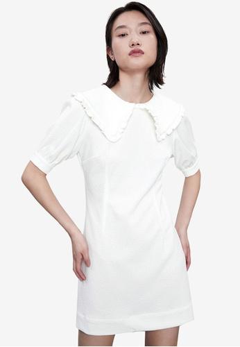 Urban Revivo 白色 休閒短洋裝 99765AA522A666GS_1