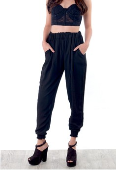 Darlene Plain Chiffon Jogger Pants