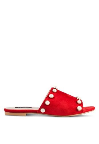 ZALORA red Pearl Embellished Sliders 7FE16SH2E8CFE7GS_1