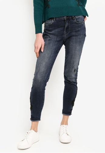 Desigual blue Side Lace Skinny Jeans EADFDAAA89A963GS_1