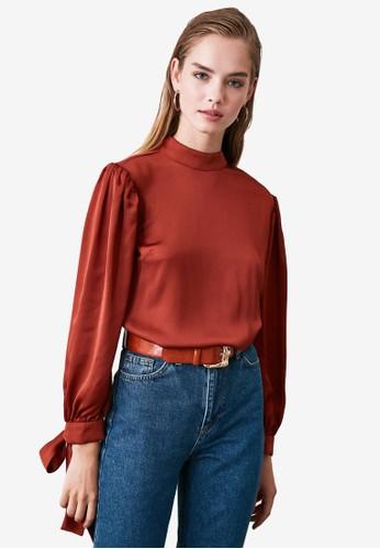 Trendyol red Tie Cuff Detail Blouse 235E2AA8CFFBA5GS_1