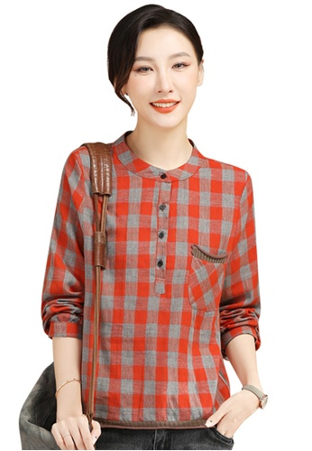 A-IN GIRLS grey and red Retro Checkered Long Sleeve Shirt 06CC1AA38967C4GS_1