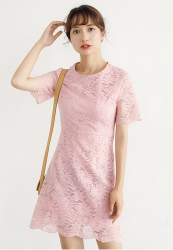Shopsfashion pink Lace Fit and Flare Dress in Pink SH656AA93DAOSG_1