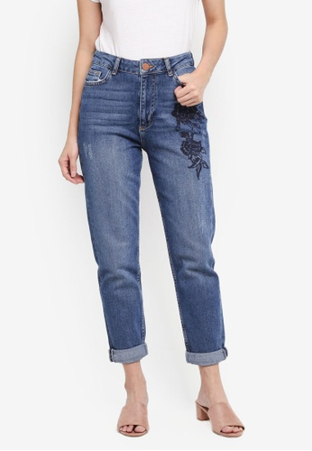 Dorothy Perkins blue Midwash Floral Embroidered Mom Jeans 119E6AA98F2CB1GS_1