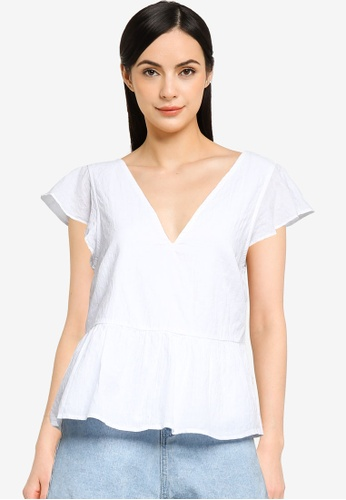ABERCROMBIE & FITCH white V-Neck Flutter Sleeve Trapeze Top 74465AA6E11700GS_1
