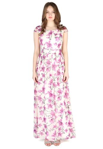 London Rag purple Purple Flower Print Chiffon Maxi Dress D46CEAADC55405GS_1
