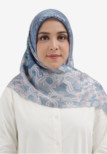 Buttonscarves blue Buttonscarves Haramain Satin Square Allure 35924AA8B15C87GS_1