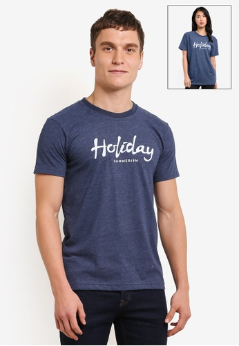 Summerism blue Holiday Typo Tee - Dark Blue 4E0B4AA8309A67GS_1