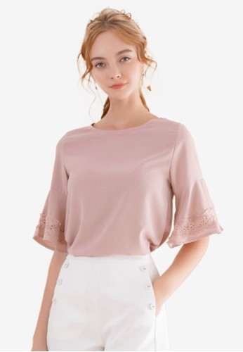 Eyescream pink Lace Insert Flare Sleeves Top AEC3EAAB6F0A3AGS_1