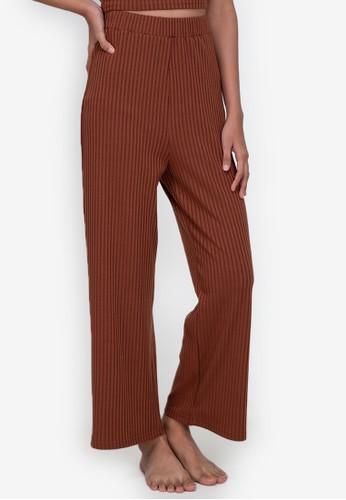 ZALORA BASICS brown Lounge Rib Knit Pants 13E34AA4FCB31BGS_1