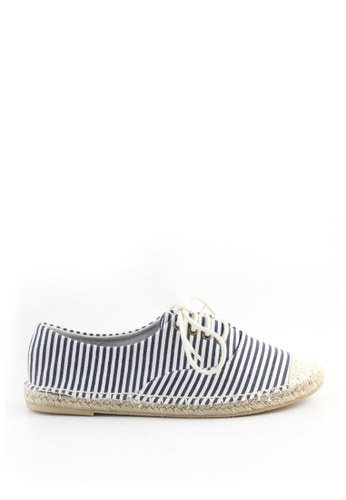London Rag navy Navy and White Stripe Lace up Sneaker 656BASH3B67CFAGS_1