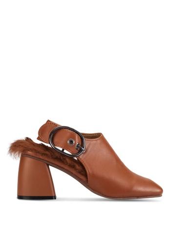 Sunnydaysweety brown 2018 New Slingback Block Heel Boots RA101210BW BD143SHBA0E6A3GS_1