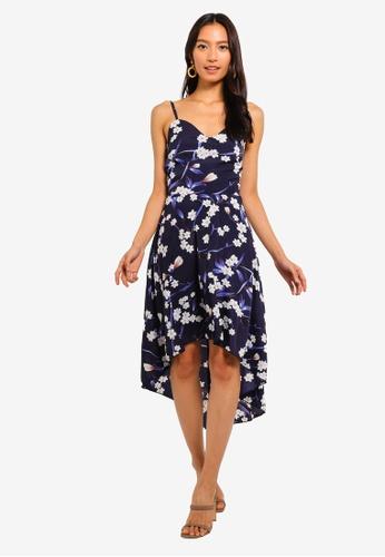 Mela London navy Blossom Print High Low Dress 91E81AAA0132EBGS_1