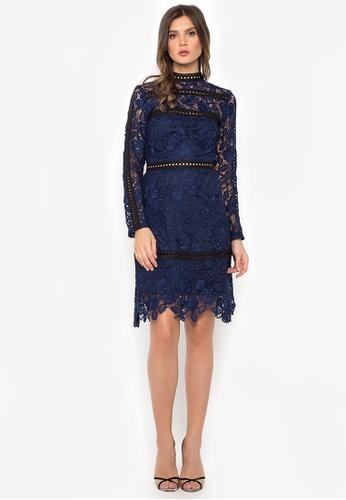 NOBASIC navy Crochet Illusion Sheath Dress B92F0AA0EC9F1BGS_1