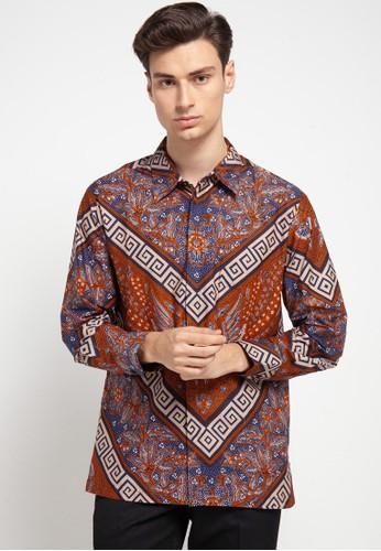 ARJUNA WEDA blue and brown Kemeja Batik Border Banji 3D4CAAA34D37C3GS_1