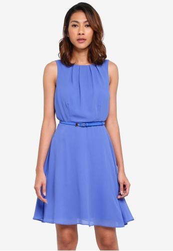 Dorothy Perkins blue Billie & Blossom Blue Hard Belt Chiffon Skater Dress 75FA7AA5FFA373GS_1