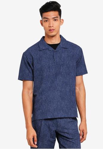 AT TWENTY navy Seersucker Camp Collar Pullover shirt 71B75AAF637675GS_1