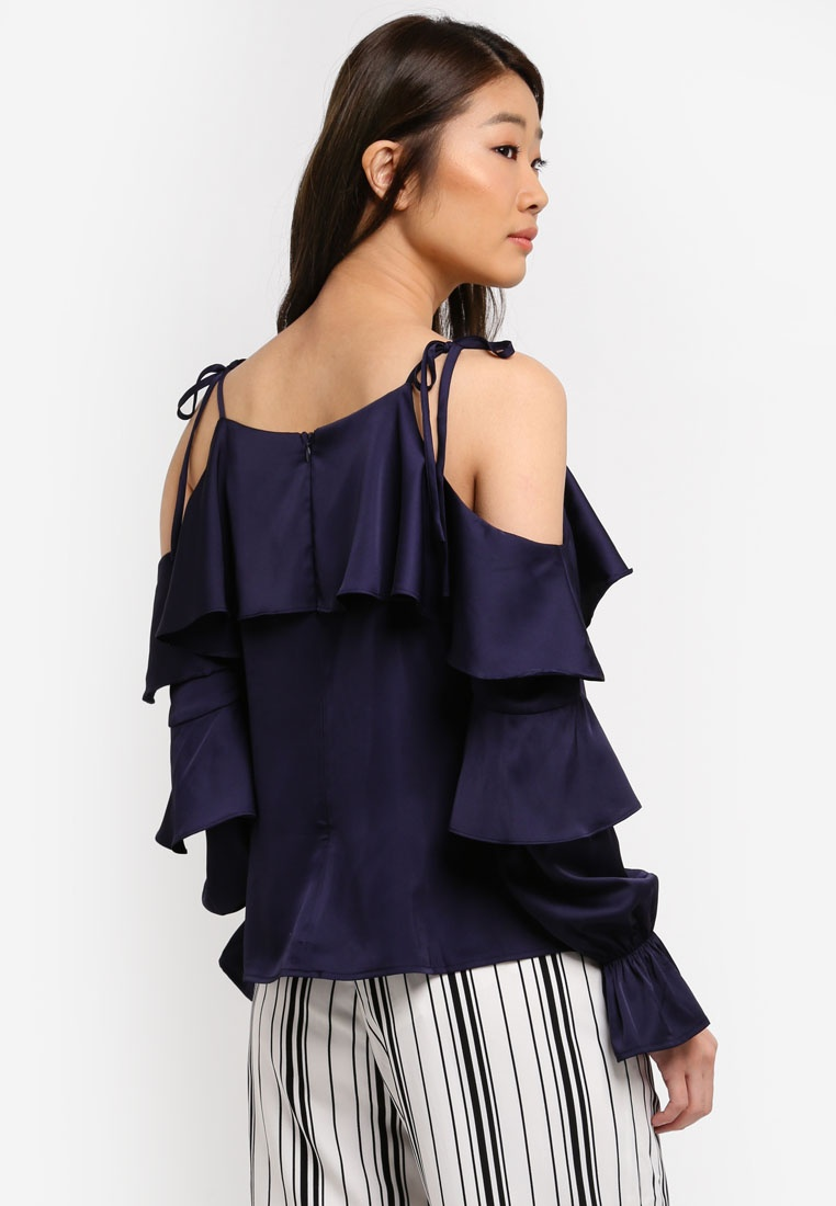 Shoulder Top amp; Proper Navy Preen Tiered Cold wq6UU7t