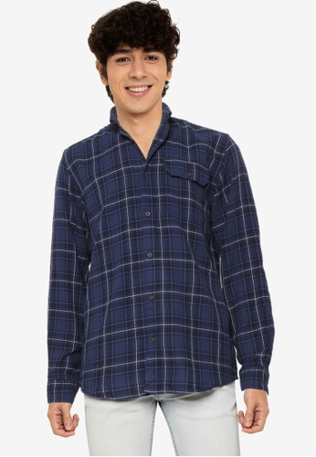 JACK & JONES navy Emmerson Long Sleeves Shirt 489DDAAD501EA0GS_1