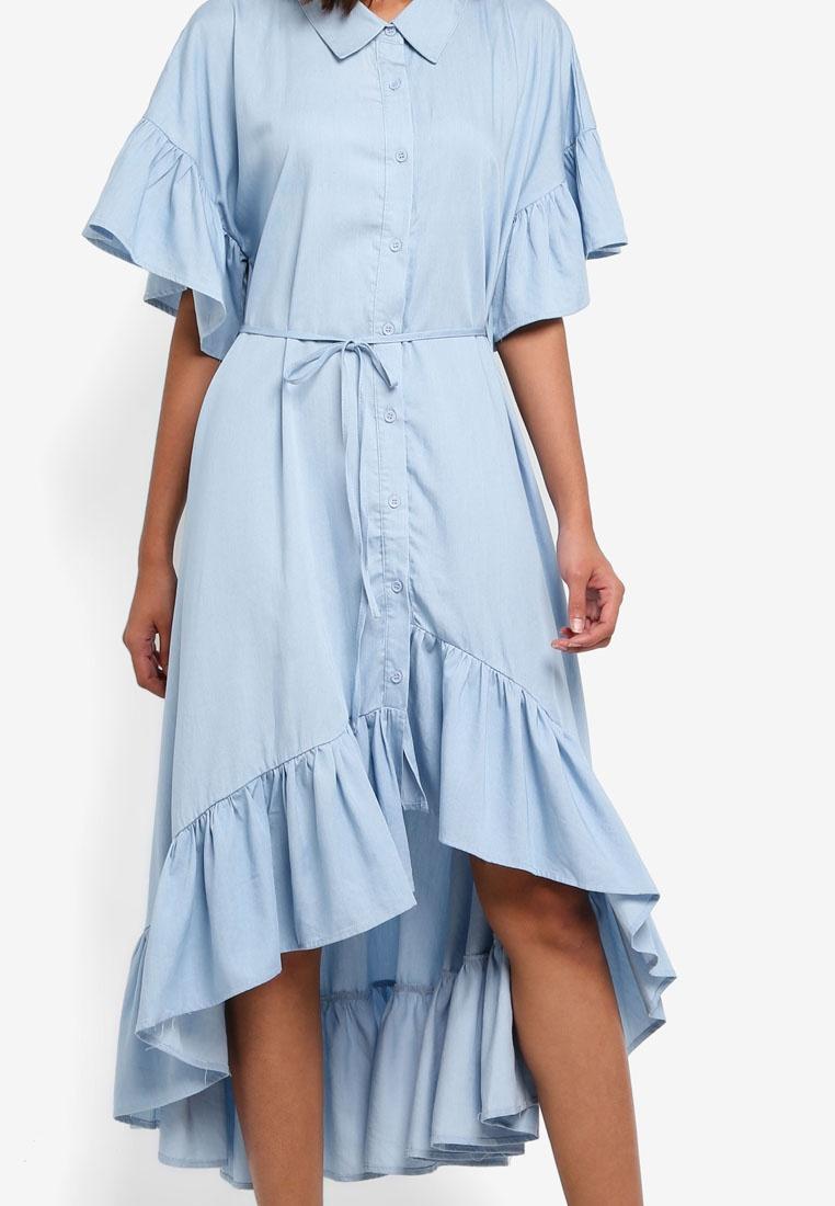 Tie INDIKAH Blue Waist With Chambray Ruffle Dress qCfwBgxB6I
