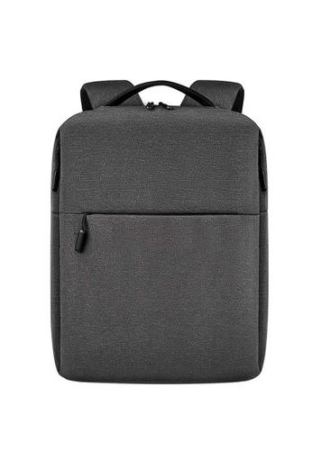 Lara grey Men's Plain Zipper Laptop Backpack - Dark Grey B140FACF697B9BGS_1