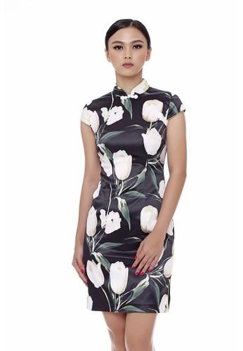 Mandarin Peony Cheongsam black and white and green and multi Mandarin Peony BLACK TULIP Cheongsam Dress MA048AA21QTQID_1
