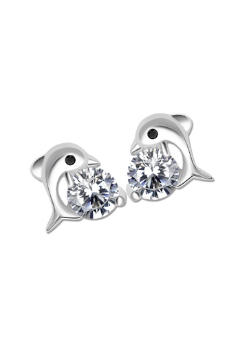 SC Tom Silver silver Dolphin Stud Stone Earrings-ESS010 SC872AC75JZWPH_1