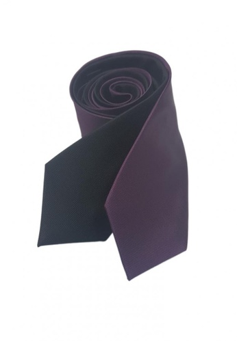 Well Suited black and purple Two Piece Microcheck Necktie Combo 6 56A0BAC28F9D5FGS_1