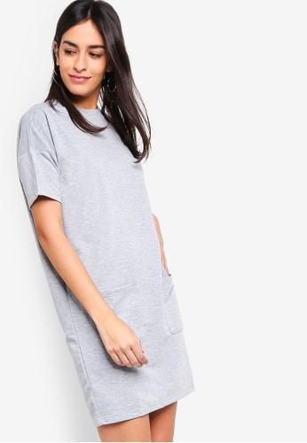 ZALORA BASICS grey Basic Mock Neck Sweatshirt Dress 3D8DEAAB91AAC1GS_1