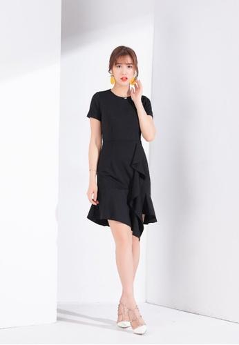 Zafiti black Flounce Short Sleeves Dress F30B6AAB484D8CGS_1