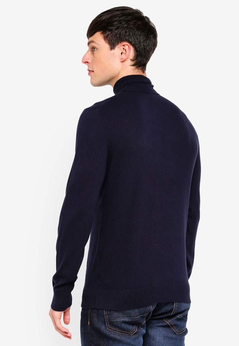 Menswear Gauge Fine Navy Roll Neck Jumper Burton London Blue Navy WYvWwq4p