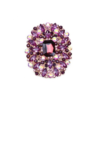 Glamorousky purple Elegant and Bright Plated Gold Geometric Pattern Brooch with Purple Cubic Zirconia 22B3DAC82AB017GS_1