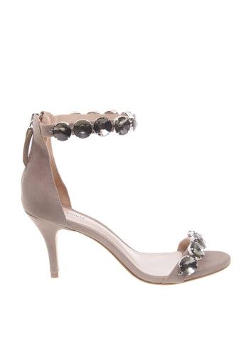 SCHUTZ beige SCHUTZ Crystal Ankle Strap Sandal - FANNY (DOVE) 61ADFSH7A398D3GS_1